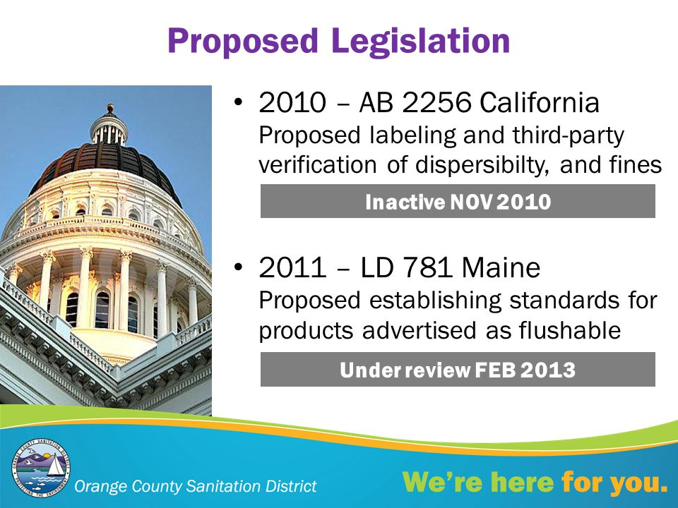 2010 – AB 2256 California Proposed labeling and third-party verification of dispersibilty, and fines 2011 – LD 781 Maine Proposed establishing standards for products advertised as flushable Under review FEB 2013 Inactive NOV 2010 Proposed Legislation