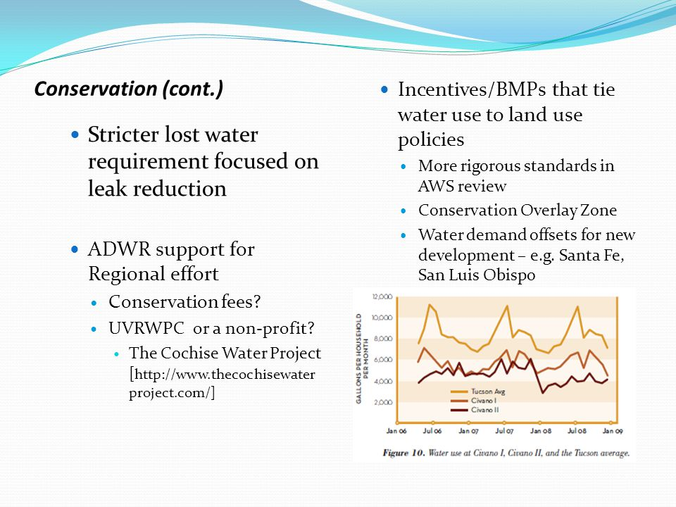 Regional development of meaningful new approaches…that could include legislation, strategic groundwater recharge, dedication of a portion of recharge to the aquifer and a sub-area management program to address environmentally sensitive areas, areas of rapid groundwater decline and other management objectives (aka enhanced aquifer management ) Consider incentives that focus recharge in areas of most hydrologic benefit Consider an effluent recharge cut to the aquifer that could vary depending on aquifer or environmental benefit Evaluate current effluent incentives that allow higher use rates – effluent is a critical resource Well drilling limits in designated areas Areas of rapid decline/overdraft Environmentally sensitive