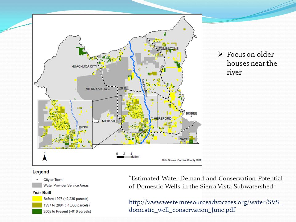 """Estimated Water Demand and Conservation Potential of Domestic Wells in the Sierra Vista Subwatershed"" http://www.westernresourceadvocates.org/water/S"