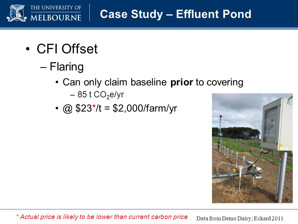 Case Study – Effluent Pond CFI Offset –Flaring Can only claim baseline prior to covering –85 t CO 2 e/yr @ $23*/t = $2,000/farm/yr Data from Demo Dairy; Eckard 2011 * Actual price is likely to be lower than current carbon price