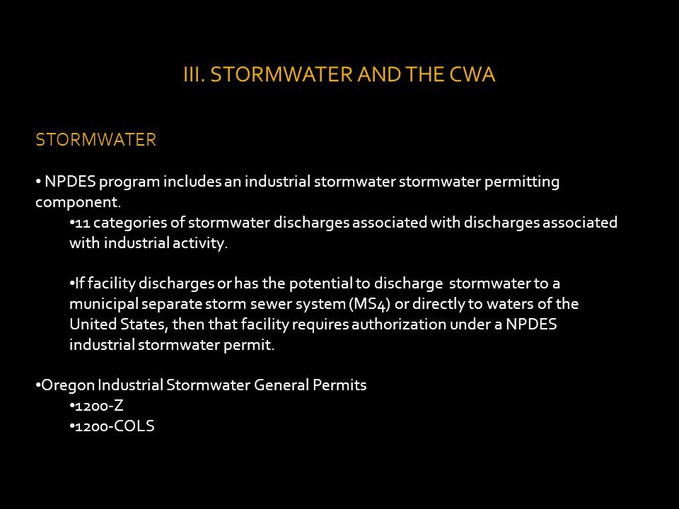 Example 3.b Rule: To the extent technologically available and economically practicable and achievable in light of best industry practice, the permit registrant must : i.Locate materials and activities indoors or protect them with storm resistant covers if stormwater from affected areas discharges to surface waters.