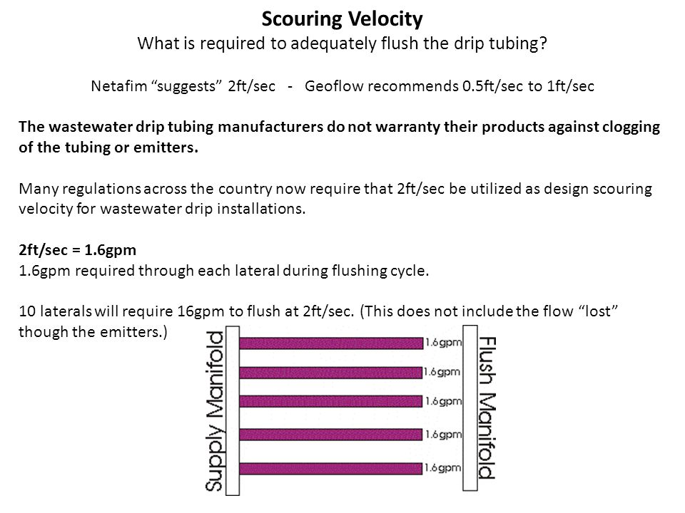 Scouring Velocity What is required to adequately flush the drip tubing.