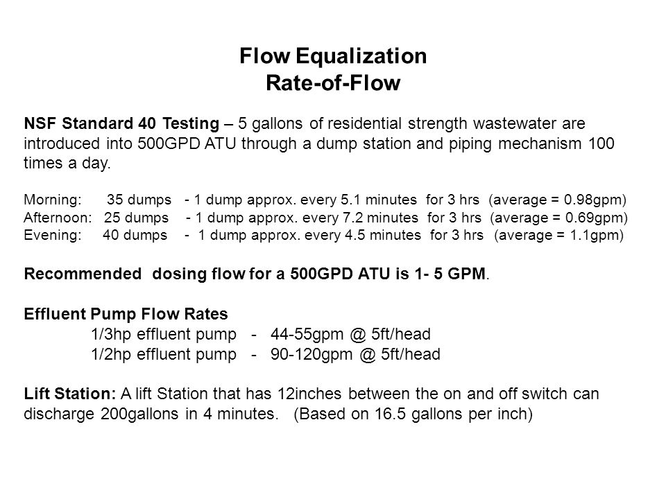 PUMP SIZING Required Flow 25.2gpm at 15psi Pressure loss through filter at 25.2gpm = 19psi Pressure loss through 100' of 1-1/4 pipe at 25.2gpm = 3.5psi Pressure loss through fittings (estimate) at 25.2gpm = 1.5psi Pressure loss at 7.5' elevation from pump to field = 3.2psi Total Pressure loss = 27.2psi Required Inlet Pressure 15psi + 27.2psi = 42.2psi Pump must produce 25.2gpm at 42.2psi Required Flow 15.6gpm at 17psi Pressure loss through filter at 15.6gpm = 7.5psi Pressure loss through 100' of 1 pipe at 15.6gpm = 5.4psi Pressure loss through fittings (estimate) at 15.6gpm = 1.5psi Pressure loss at 7.5' elevation from pump to field = 3.2psi Total Pressure loss = 17.6psi Required Inlet Pressure 17psi + 17.6psi = 34.6psi Pump must produce 15.6gpm at 34.6psi Required Flow 12.4gpm at 25psi Pressure loss through filter at 12.4gpm = 5psi Pressure loss through 100' of 1 pipe at 12.4gpm = 3.6psi Pressure loss through fittings (estimate) at 12.4gpm = 1.5psi Pressure loss at 7.5' elevation from pump to field = 3.2psi Total Pressure loss = 13.3psi Required Inlet Pressure 25psi + 13.3psi = 38.3psi Pump must produce 12.4gpm at 38.3psi Friction loss factors: Rate of flow through piping(size and length), fittings, filters, zone valves, control valves, and changes in elevation
