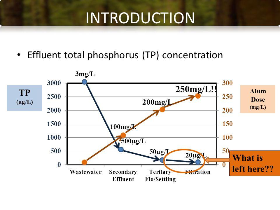 INTRODUCTION Effluent total phosphorus (TP) concentration 3mg/L 500µg/L 50µg/L 20µg/L 100mg/L 200mg/L 250mg/L!.