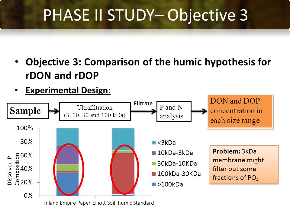 CONCLUSIONS PHASE II STUDY– Objective 3 Objective 3: Comparison of the humic hypothesis for rDON and rDOP Experimental Design: Sample Ultrafiltration (3, 10, 30 and 100 kDa) P and N analysis DON and DOP concentration in each size range Filtrate Problem: 3kDa membrane might filter out some fractions of PO 4