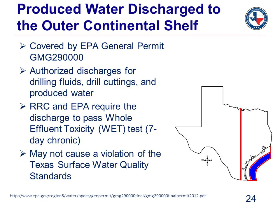Produced Water Discharged to the Outer Continental Shelf  Covered by EPA General Permit GMG290000  Authorized discharges for drilling fluids, drill