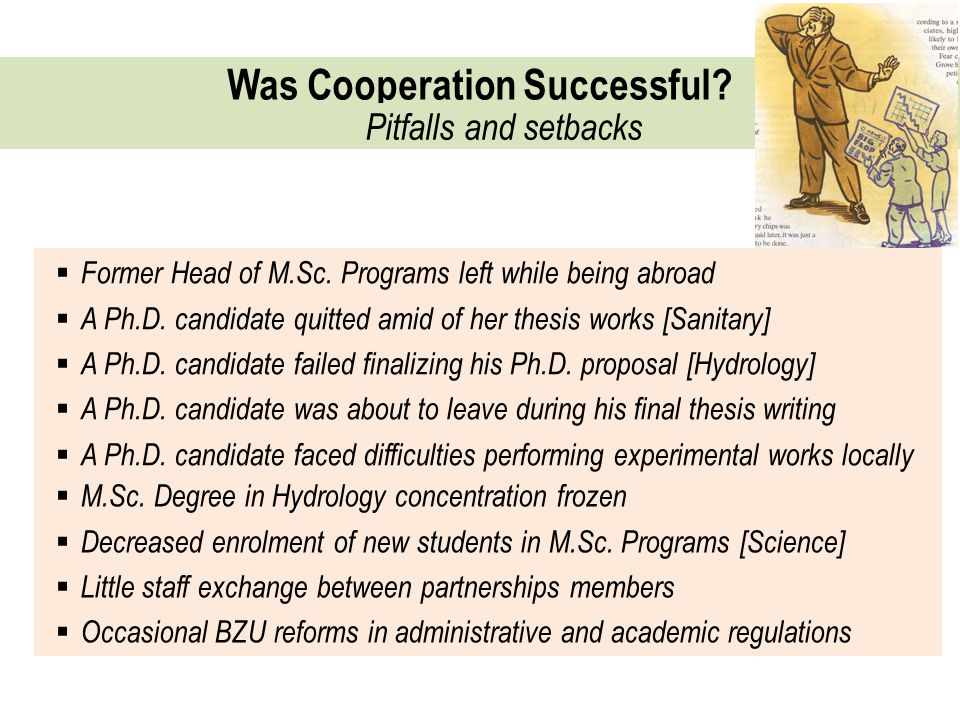 Was Cooperation Successful. Pitfalls and setbacks  Former Head of M.Sc.
