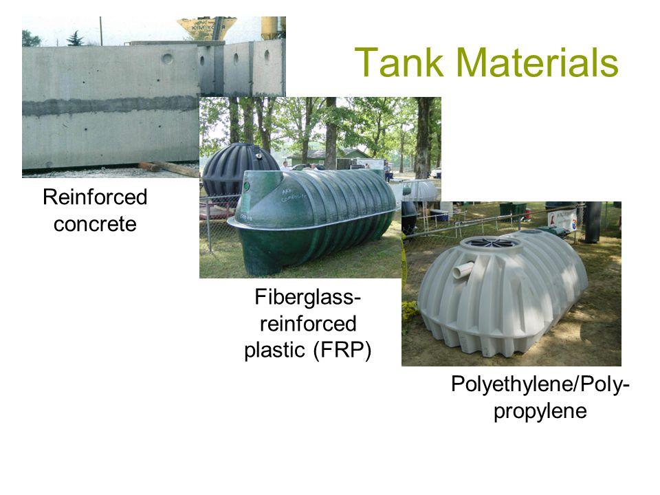Tank Materials Fiberglass- reinforced plastic (FRP) Polyethylene/Poly- propylene Reinforced concrete