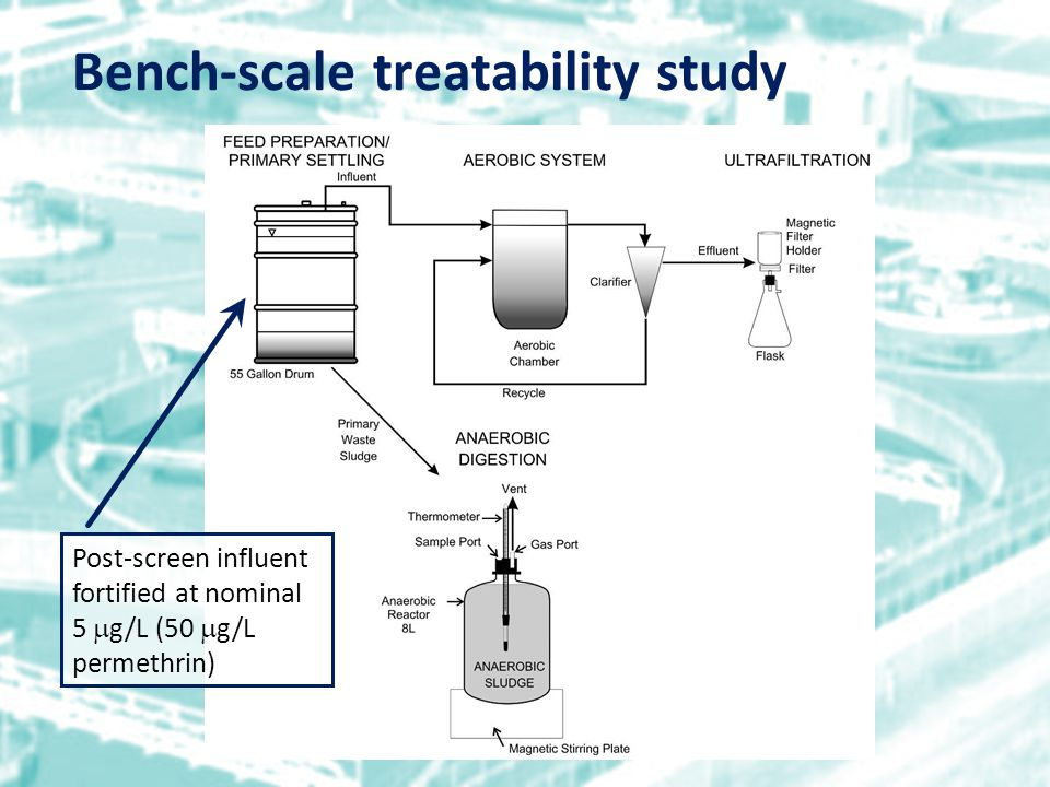Bench-scale treatability study Post-screen influent fortified at nominal 5  g/L (50  g/L permethrin)