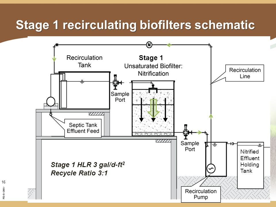 PD-Sw205w 16 Stage 1 recirculating biofilters schematic Nitrified Effluent Holding Tank Stage 1 HLR 3 gal/d-ft 2 Recycle Ratio 3:1 Stage 1