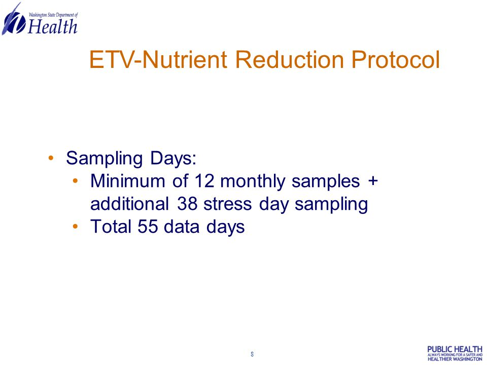 9 ETV-Nutrient Reduction Protocol Performance Parameters: Total N, NH 3 -N, NOx-N (NO 3 +NO 2 ), Total P, CBOD, COD, TSS/VSS, alkalinity Site Grab for lab: fecal coliform In-situ samples: dissolved oxygen, pH, temperature