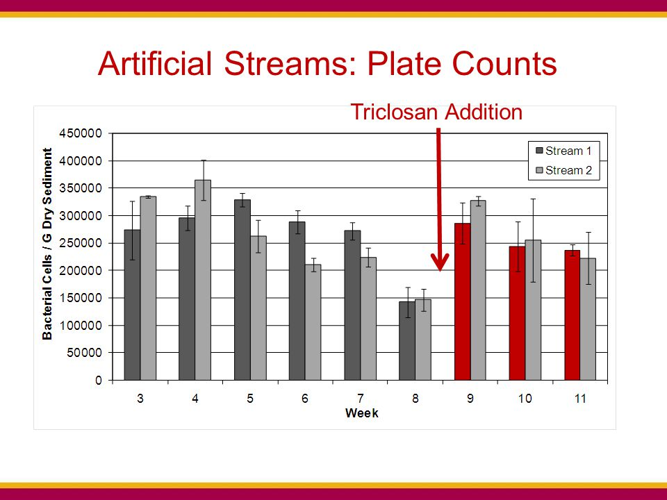 Triclosan Addition Artificial Streams: Plate Counts