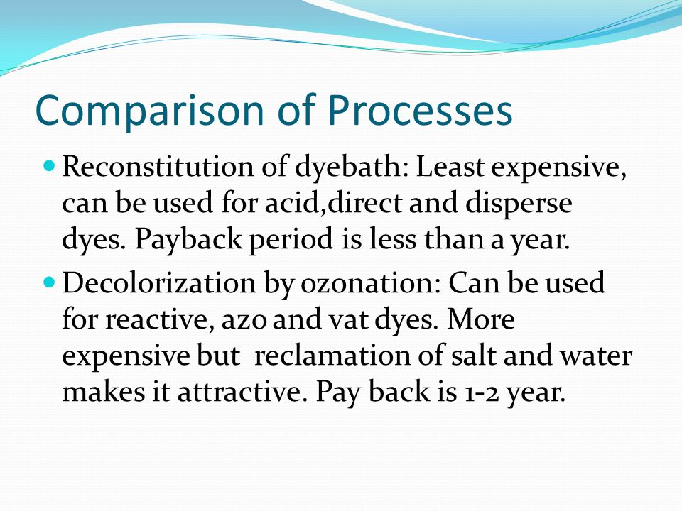 Comparison of Processes Reconstitution of dyebath: Least expensive, can be used for acid,direct and disperse dyes.