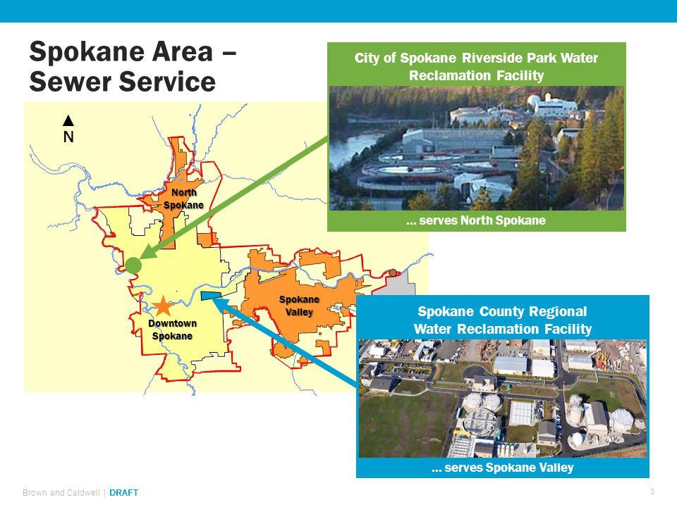 Spokane Area – Sewer Service DowntownSpokane Spokane Valley North Spokane ▲N▲N City of Spokane Riverside Park Water Reclamation Facility...