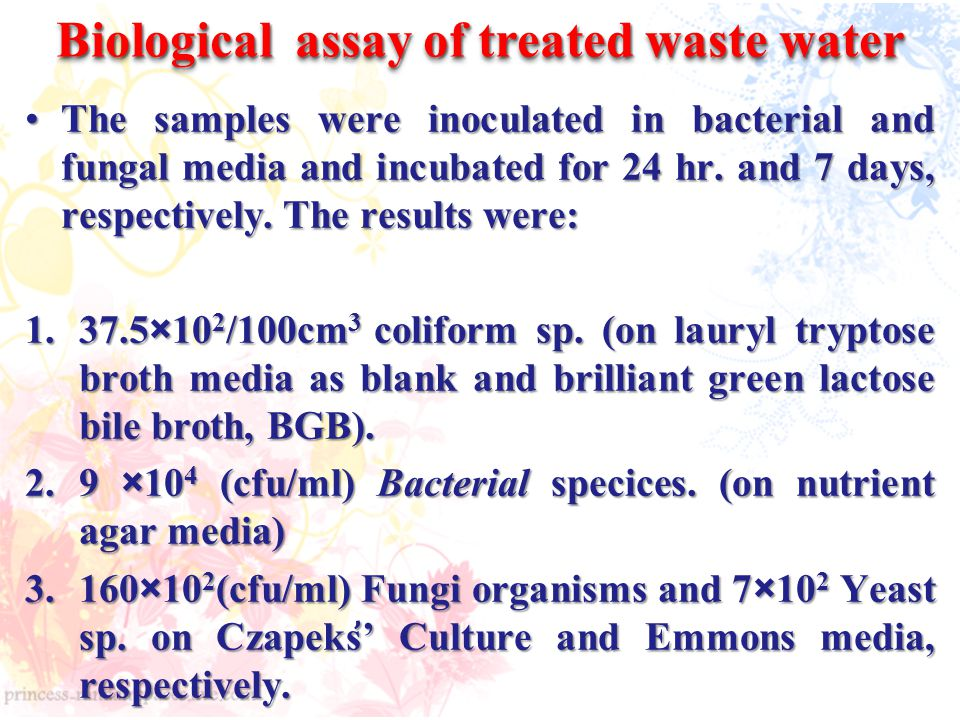 Biological assay of treated waste water The samples were inoculated in bacterial and fungal media and incubated for 24 hr.