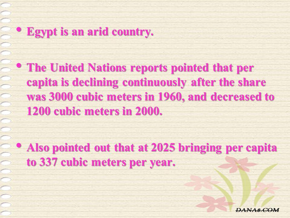 Egypt is an arid country.Egypt is an arid country.