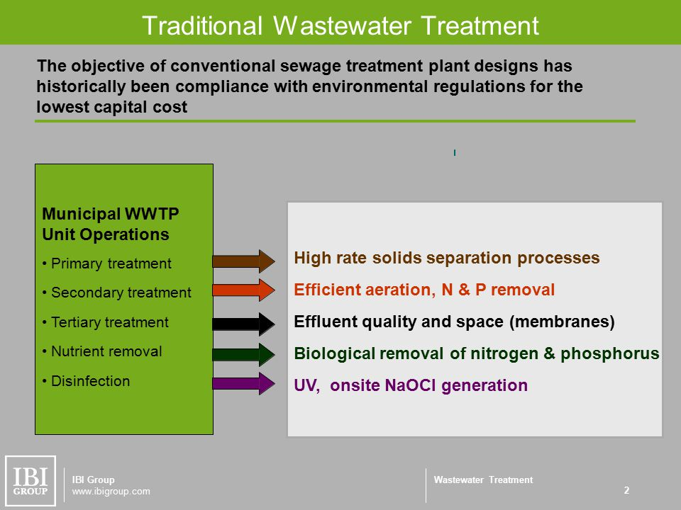 Wastewater Treatment Traditional Wastewater Treatment 2 IBI Group www.ibigroup.com The objective of conventional sewage treatment plant designs has historically been compliance with environmental regulations for the lowest capital cost High rate solids separation processes Efficient aeration, N & P removal Effluent quality and space (membranes) Biological removal of nitrogen & phosphorus UV, onsite NaOCl generation Municipal WWTP Unit Operations Primary treatment Secondary treatment Tertiary treatment Nutrient removal Disinfection