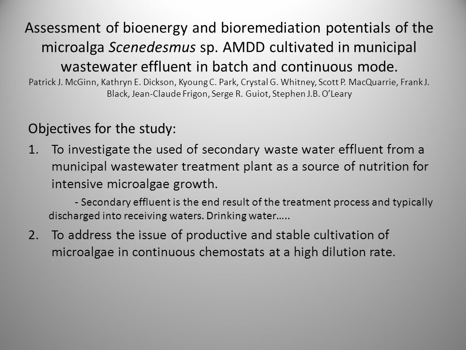 Assessment of bioenergy and bioremediation potentials of the microalga Scenedesmus sp.