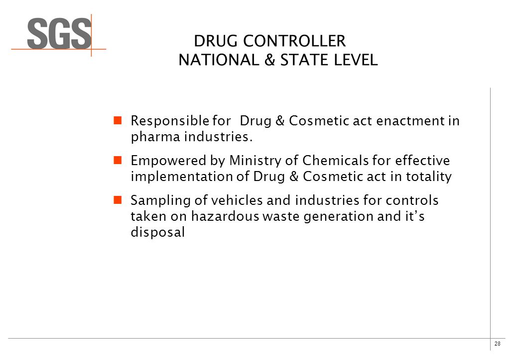 28 DRUG CONTROLLER NATIONAL & STATE LEVEL Responsible for Drug & Cosmetic act enactment in pharma industries.