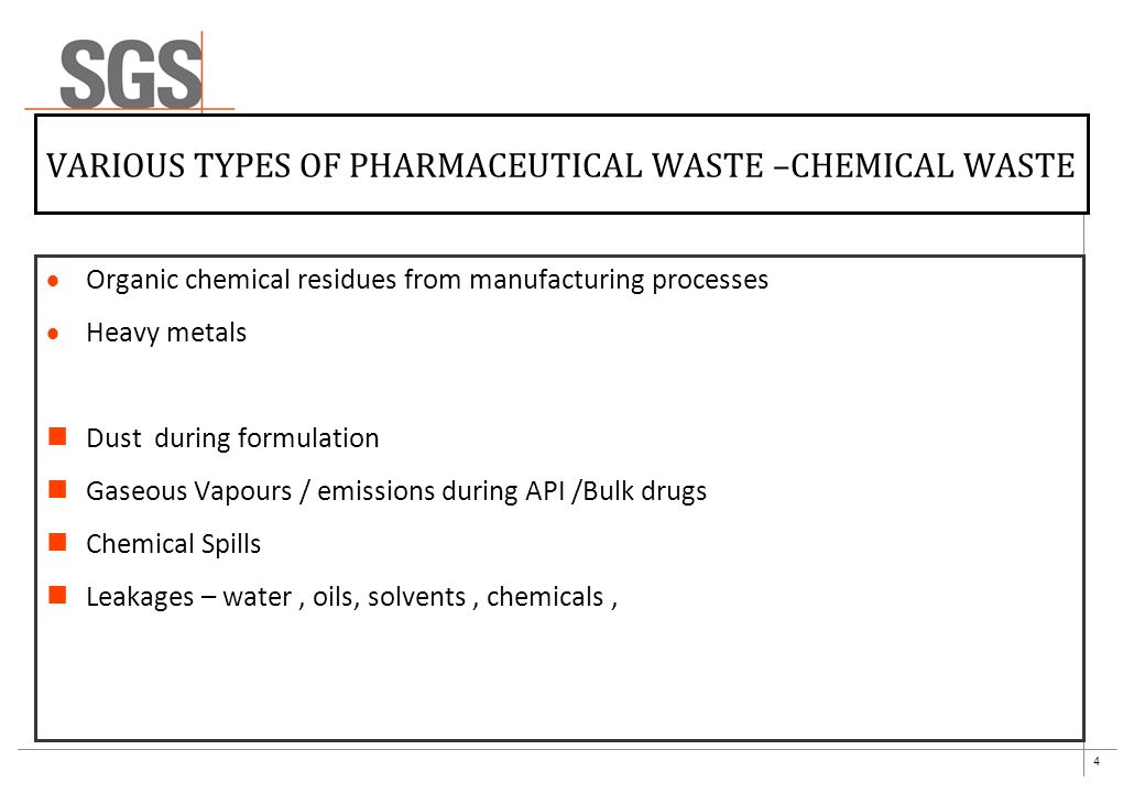 5 EXAMPLES OF CHEMICAL WASTE Carcinogenic & other Chemicals used will explore every chances of gaseous/ fumes for Aromatic Amines, Benzene derivatives,Solvents like Acetonitrile, Acetic Acid, Toluene, Methanol.