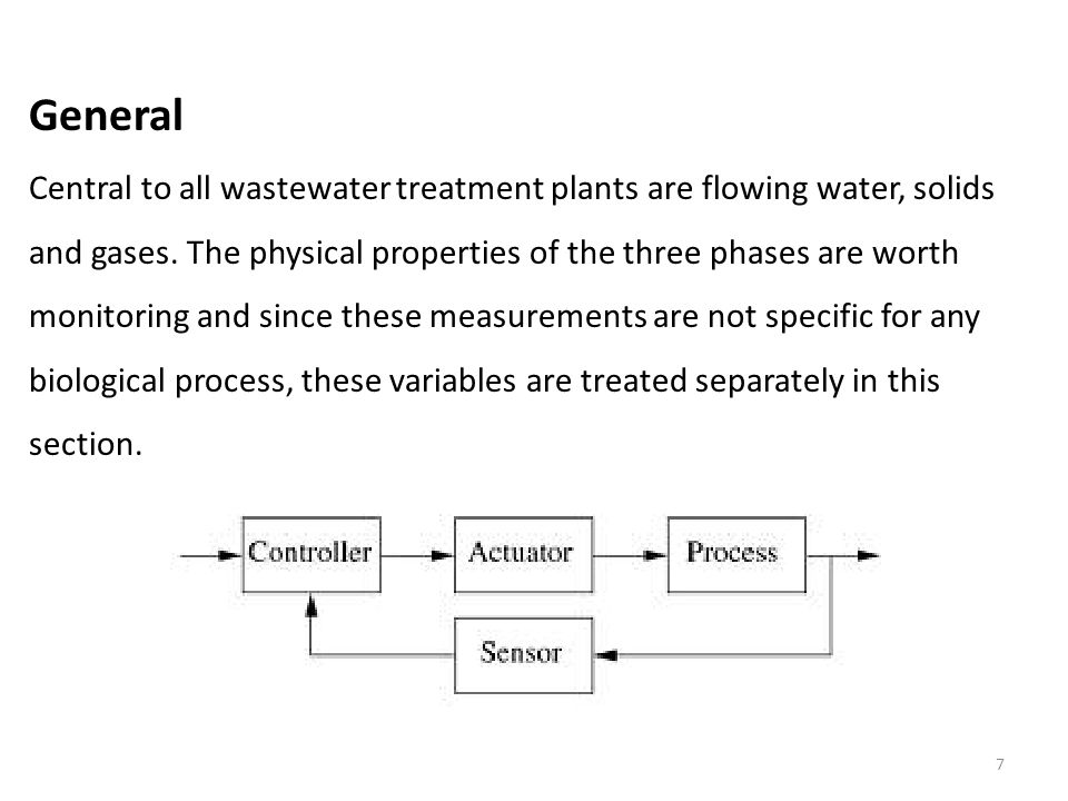 7 General Central to all wastewater treatment plants are flowing water, solids and gases.