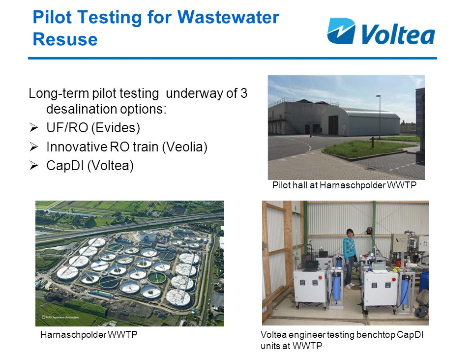 Pilot Testing for Wastewater Resuse Long-term pilot testing underway of 3 desalination options:  UF/RO (Evides)  Innovative RO train (Veolia)  CapDI (Voltea) Voltea engineer testing benchtop CapDI units at WWTP Harnaschpolder WWTP Pilot hall at Harnaschpolder WWTP