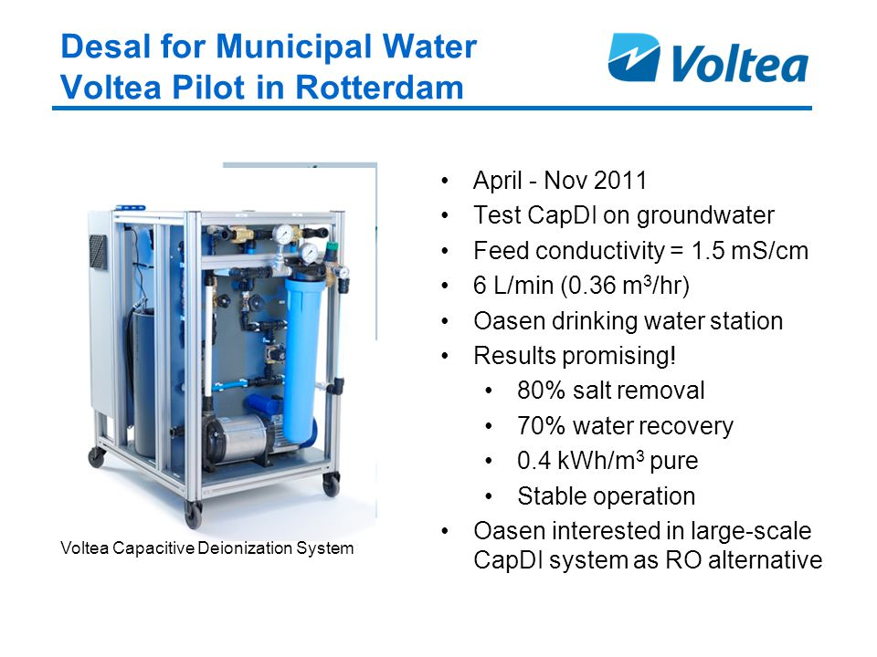 Desal for Municipal Water Voltea Pilot in Rotterdam April - Nov 2011 Test CapDI on groundwater Feed conductivity = 1.5 mS/cm 6 L/min (0.36 m 3 /hr) Oasen drinking water station Results promising.