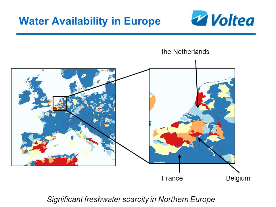 Water Availability in Europe the Netherlands BelgiumFrance Significant freshwater scarcity in Northern Europe
