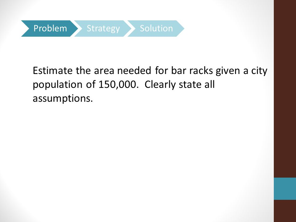 Estimate the area needed for bar racks given a city population of 150,000.