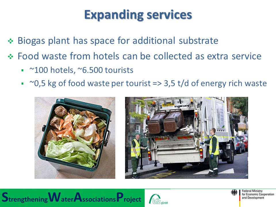Expanding services  Biogas plant has space for additional substrate  Food waste from hotels can be collected as extra service  ~100 hotels, ~6.500 tourists  ~0,5 kg of food waste per tourist => 3,5 t/d of energy rich waste