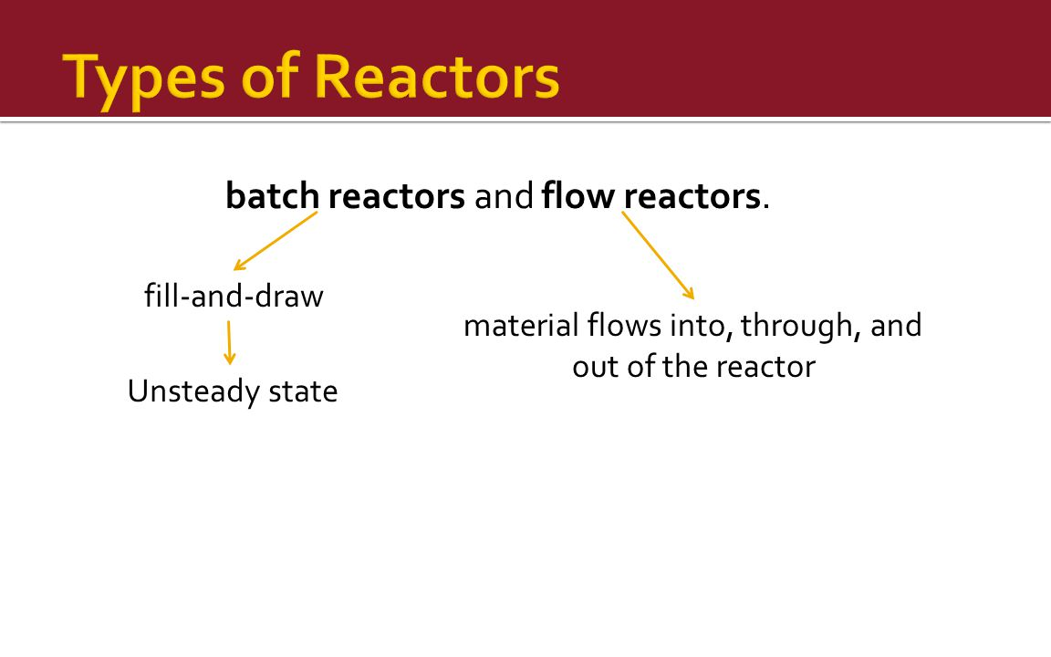 batch reactors and flow reactors. fill-and-draw Unsteady state material flows into, through, and out of the reactor