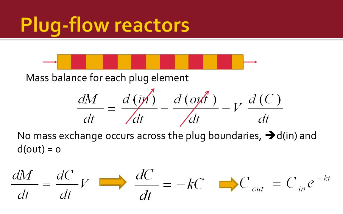 Mass balance for each plug element No mass exchange occurs across the plug boundaries,  d(in) and d(out) = 0
