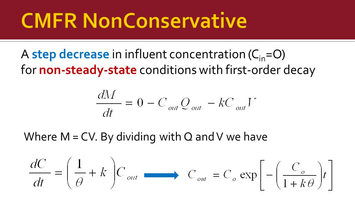 A step decrease in influent concentration (C in =O) for non-steady-state conditions with first-order decay Where M = CV.