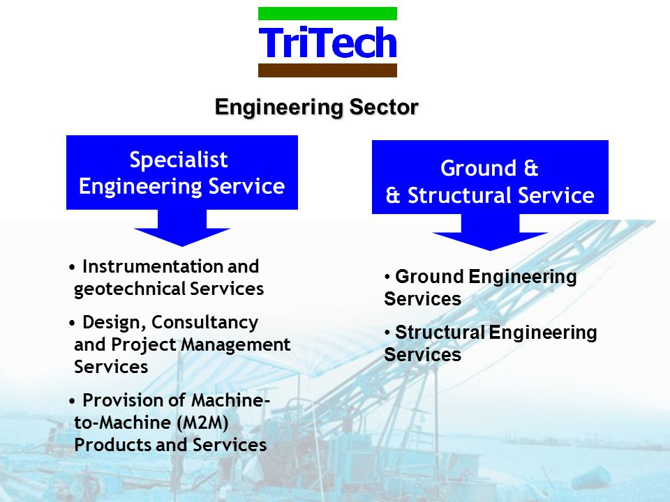 Engineering Sector Ground & & Structural Service Specialist Engineering Service Ground Engineering Services Structural Engineering Services Instrumentation and geotechnical Services Design, Consultancy and Project Management Services Provision of Machine- to-Machine (M2M) Products and Services