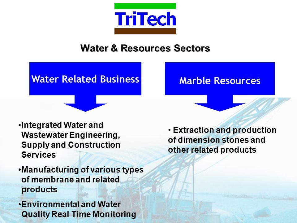 Water & Resources Sectors Marble Resources Water Related Business Extraction and production of dimension stones and other related products Integrated Water and Wastewater Engineering, Supply and Construction Services Manufacturing of various types of membrane and related products Environmental and Water Quality Real Time Monitoring