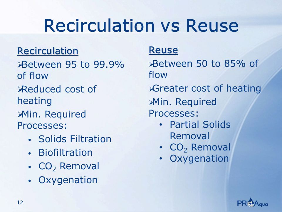 12 Recirculation vs ReuseRecirculation  Between 95 to 99.9% of flow  Reduced cost of heating  Min.