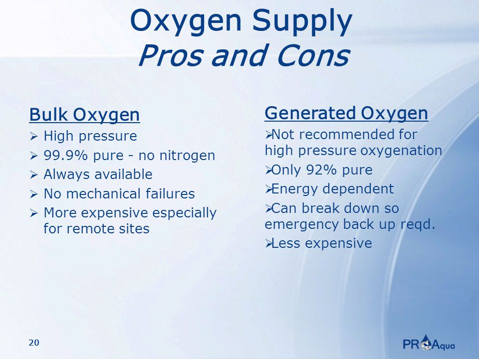 20 Oxygen Supply Pros and Cons Bulk Oxygen  High pressure  99.9% pure - no nitrogen  Always available  No mechanical failures  More expensive especially for remote sites Generated Oxygen  Not recommended for high pressure oxygenation  Only 92% pure  Energy dependent  Can break down so emergency back up reqd.