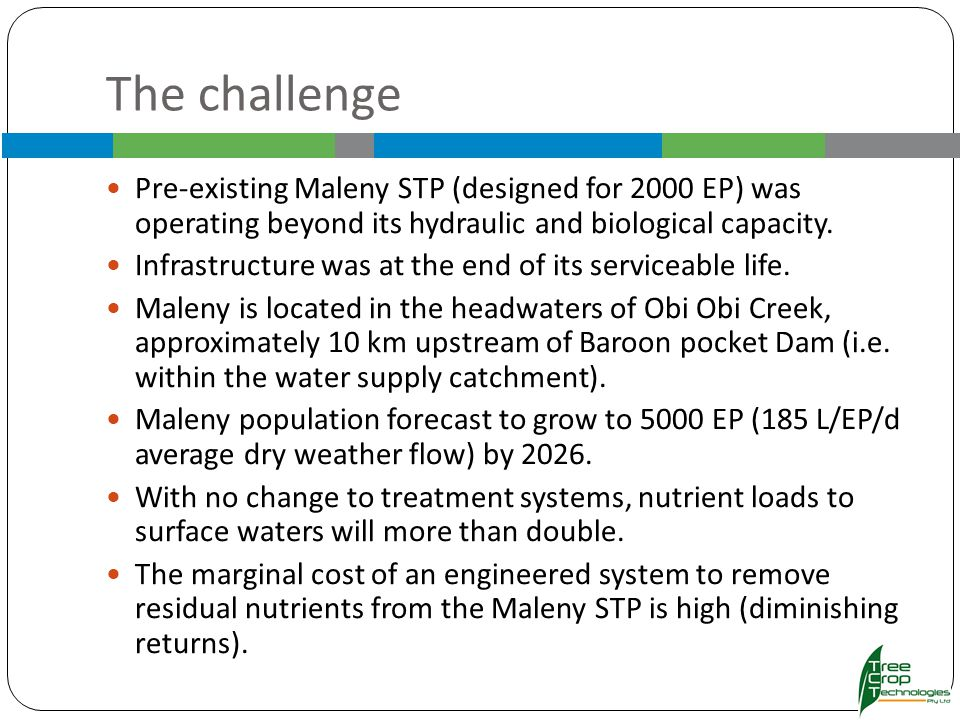 The challenge Pre-existing Maleny STP (designed for 2000 EP) was operating beyond its hydraulic and biological capacity.