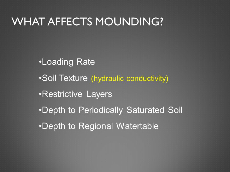 WHAT AFFECTS MOUNDING.