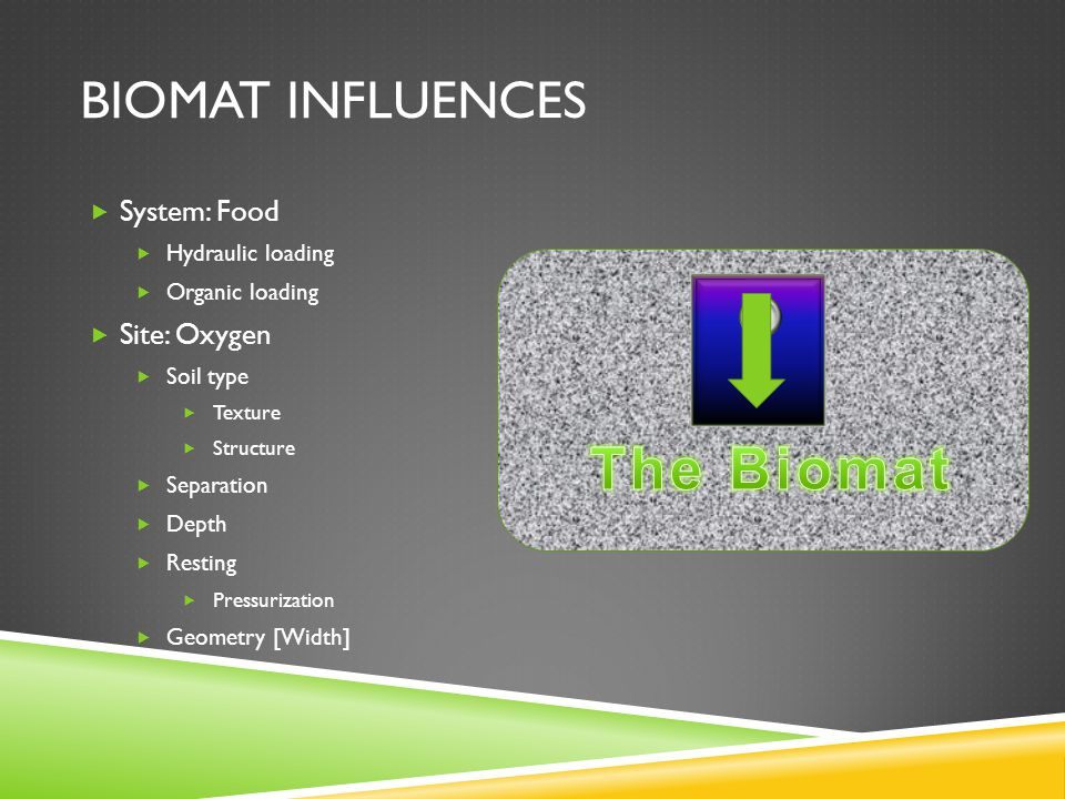 BIOMAT INFLUENCES  System: Food  Hydraulic loading  Organic loading  Site: Oxygen  Soil type  Texture  Structure  Separation  Depth  Resting  Pressurization  Geometry [Width]