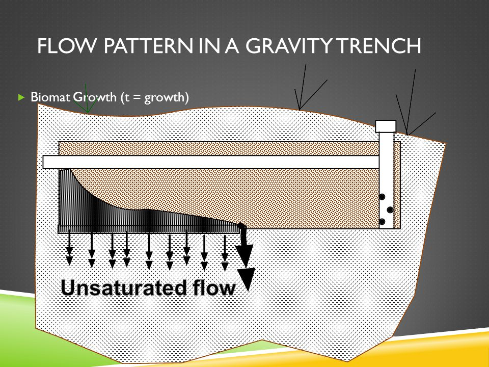 FLOW PATTERN IN A GRAVITY TRENCH  Biomat Growth (t = growth)