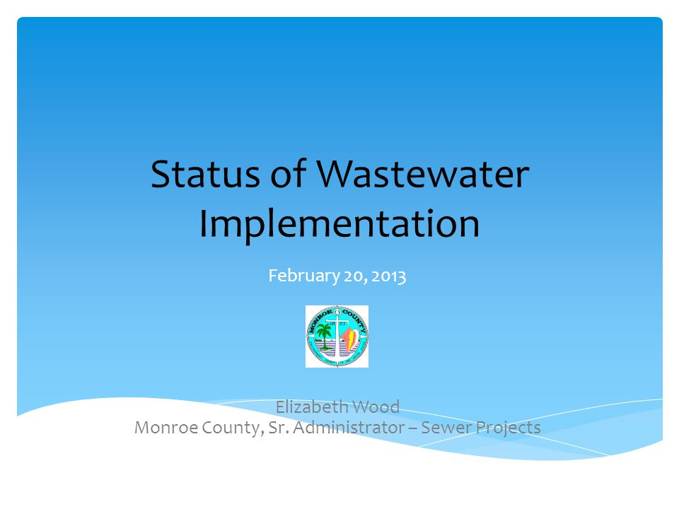 Status of Wastewater Implementation February 20, 2013 Elizabeth Wood Monroe County, Sr.
