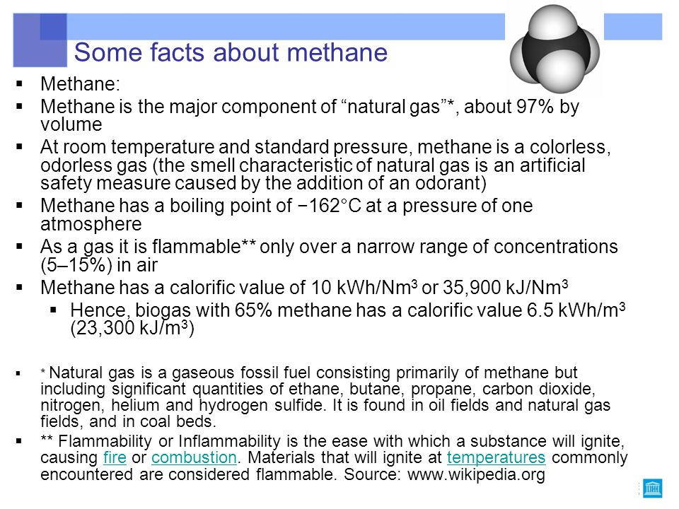 """Some facts about methane  Methane: CH 4  Methane is the major component of """"natural gas""""*, about 97% by volume  At room temperature and standard pr"""