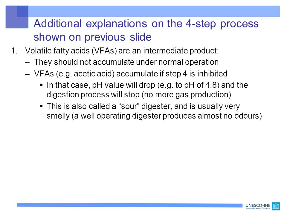 Additional explanations on the 4-step process shown on previous slide 1.Volatile fatty acids (VFAs) are an intermediate product: –They should not accu