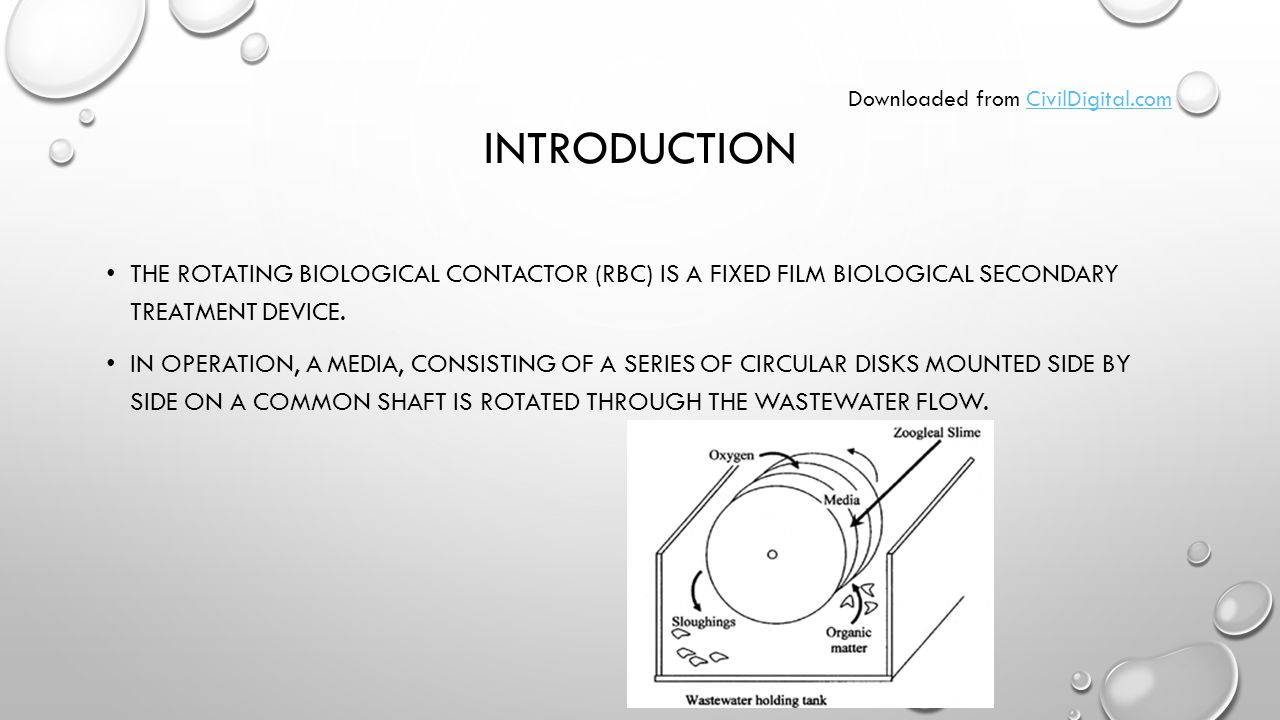 INTRODUCTION THE ROTATING BIOLOGICAL CONTACTOR (RBC) IS A FIXED FILM BIOLOGICAL SECONDARY TREATMENT DEVICE.