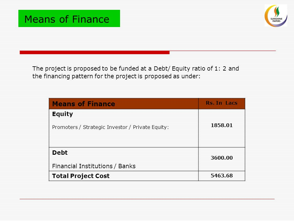Means of Finance The project is proposed to be funded at a Debt/ Equity ratio of 1: 2 and the financing pattern for the project is proposed as under: Means of Finance Rs.