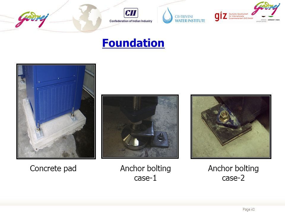Page 40 Foundation Anchor bolting case-2 Anchor bolting case-1 Concrete pad
