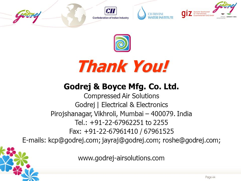 Page 44 Thank You. Godrej & Boyce Mfg. Co. Ltd.