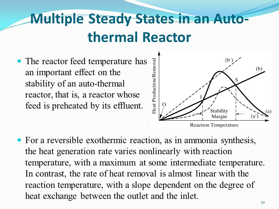 Multiple Steady States in an Auto- thermal Reactor 10 The reactor feed temperature has an important effect on the stability of an auto-thermal reactor
