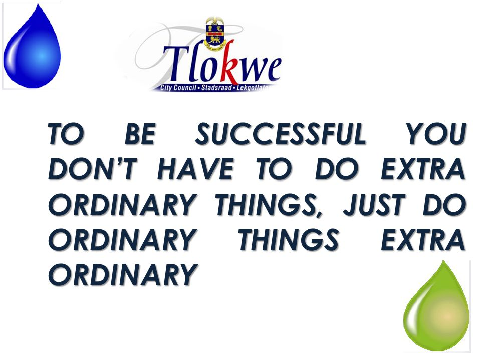 TO BE SUCCESSFUL YOU DON'T HAVE TO DO EXTRA ORDINARY THINGS, JUST DO ORDINARY THINGS EXTRA ORDINARY